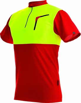 104059 60 Zipp Neck Shirt kurzarm 375 Cocona 2018 rot neongelb