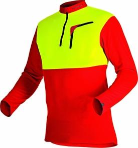 104059 60 Zipp Neck Shirt langarm 375 Cocona 2018 rot neongelb